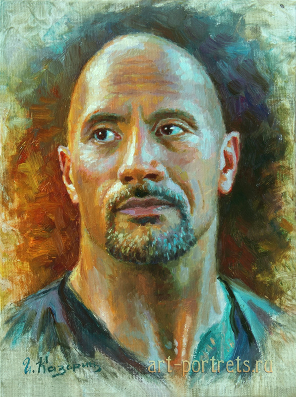 oil painting portrait dwayne johnson by igor kazarin