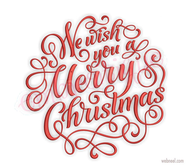 christmas typography design by embroitigue