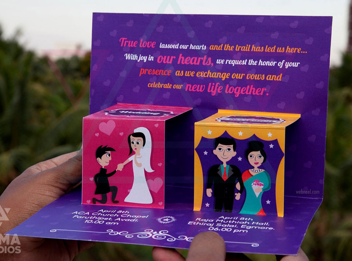 wedding card design idea creative 3d popup