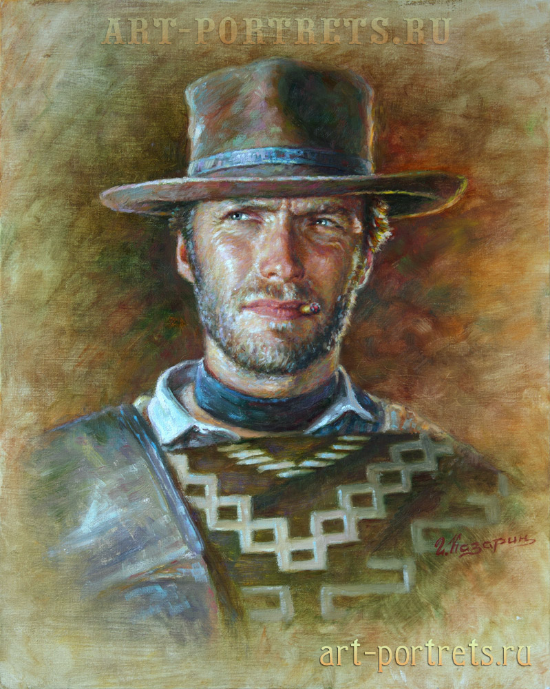 oil painting portrait clint eastwood painting