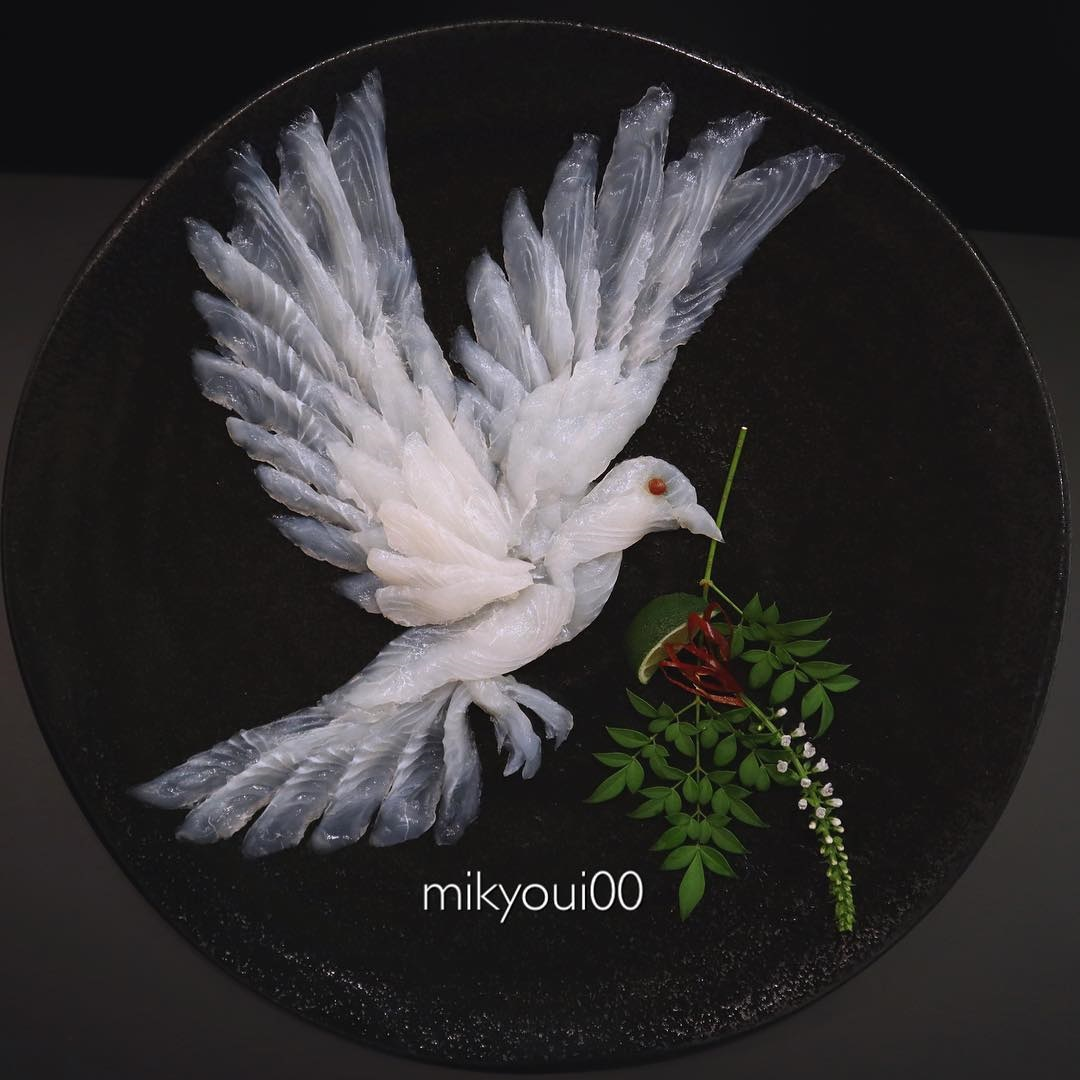 food art idea dove by mikyou