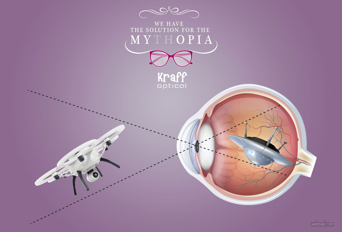 advertising campaign design kraff optical eye