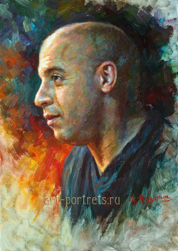 oil painting portrait vin diesel by igor kazarin