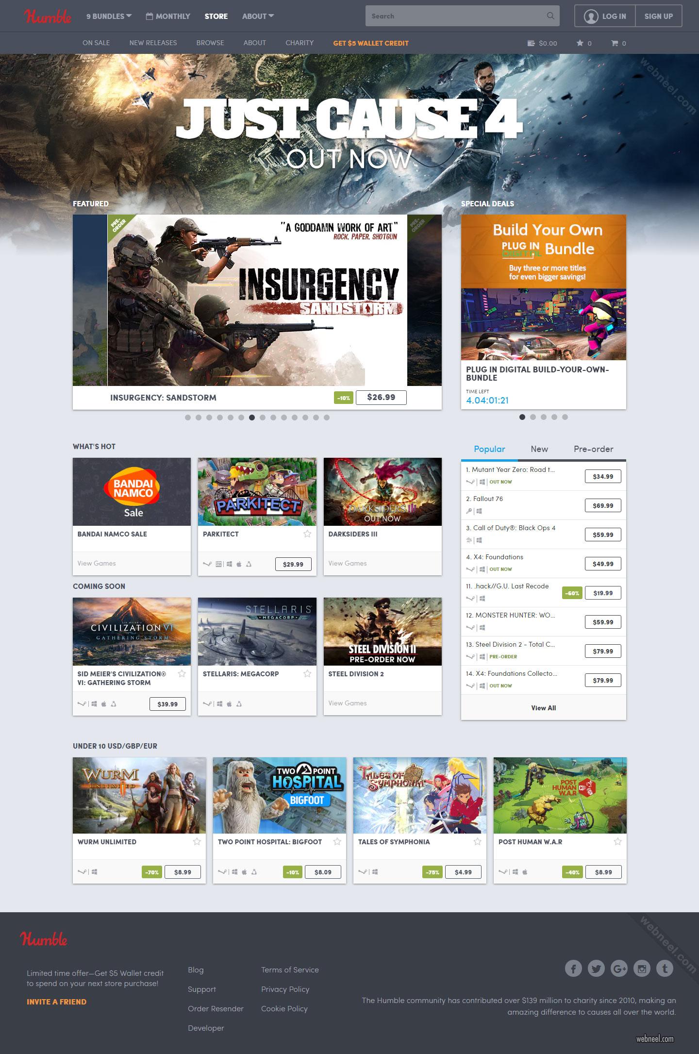 website design game humble