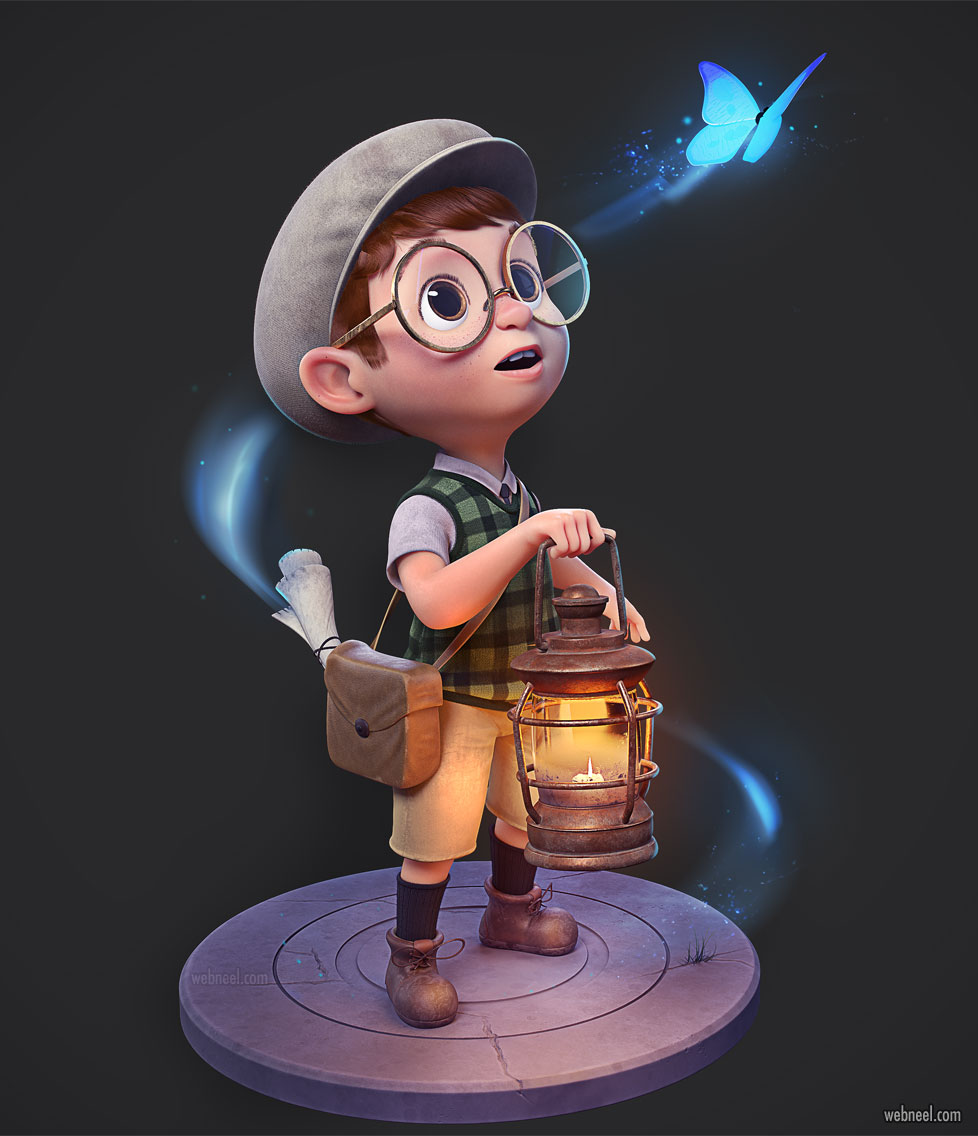 3d model boy cartoon character by paulo gonzaga
