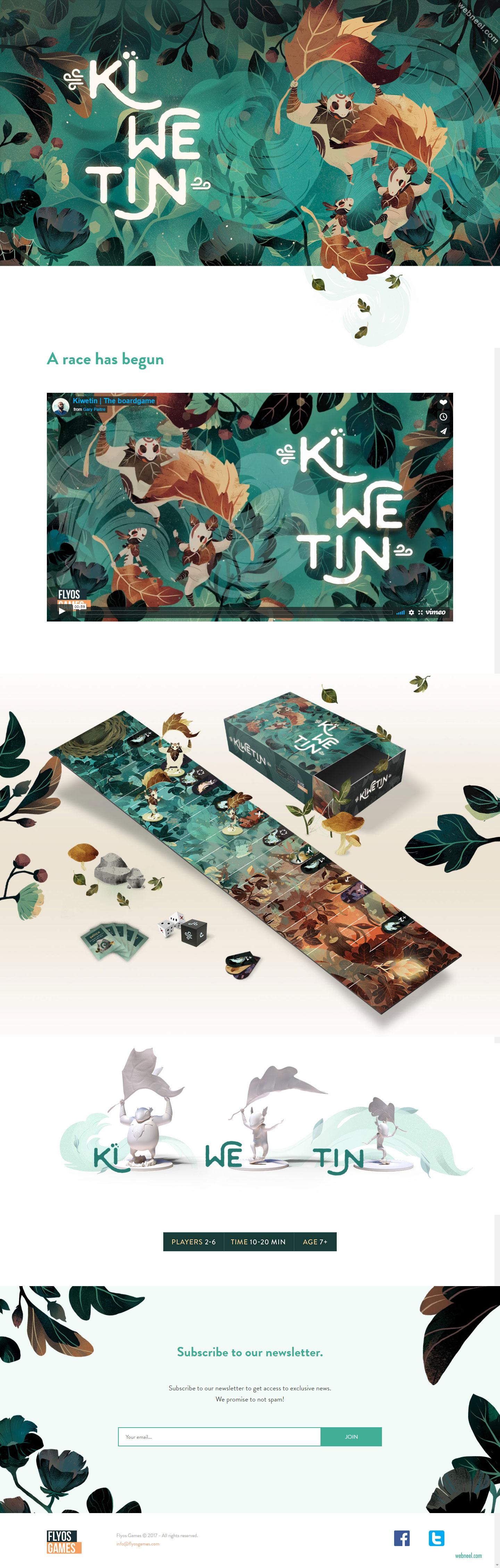 website design game kiwetin by flyos games