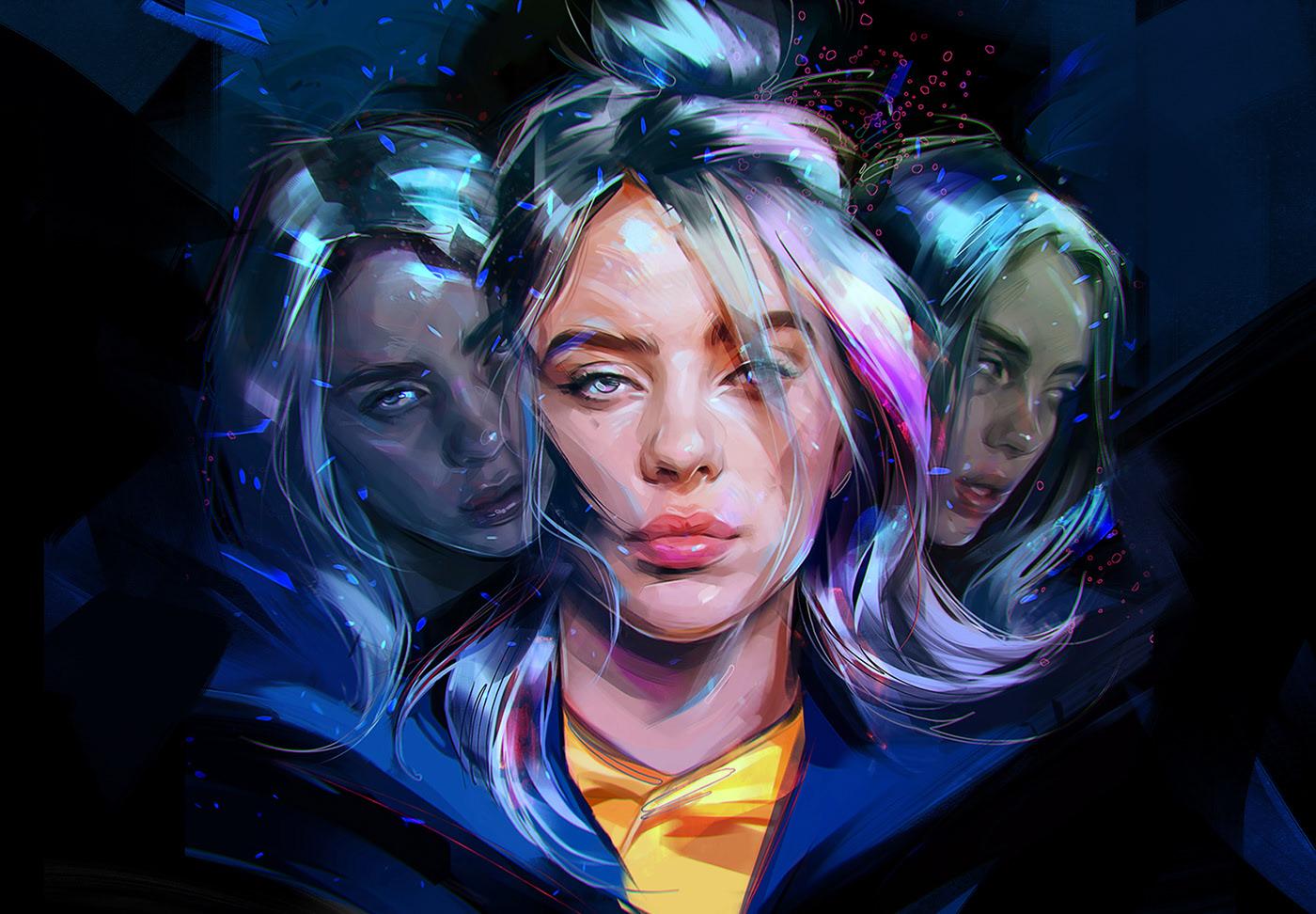 digital portrait paintings billie eilish by viktor miller gausa