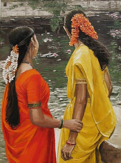 acrylic painting women by ramasuresh