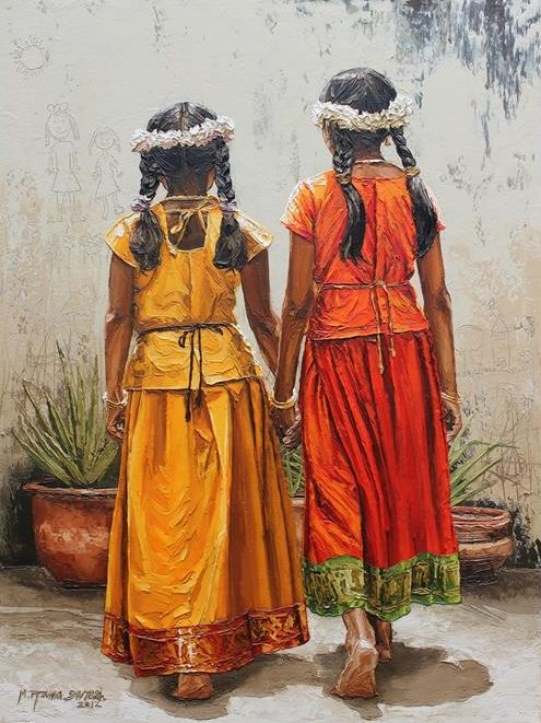 acrylic painting sisters by ramasuresh
