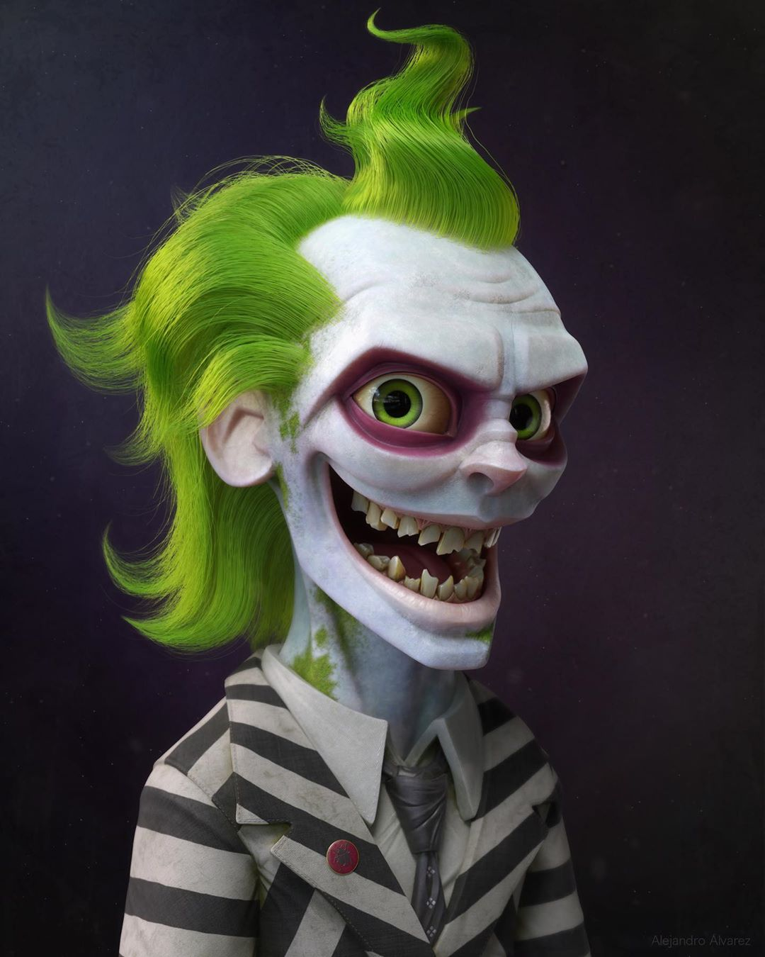 3d model designs green clown by alejandro alvarez mejia