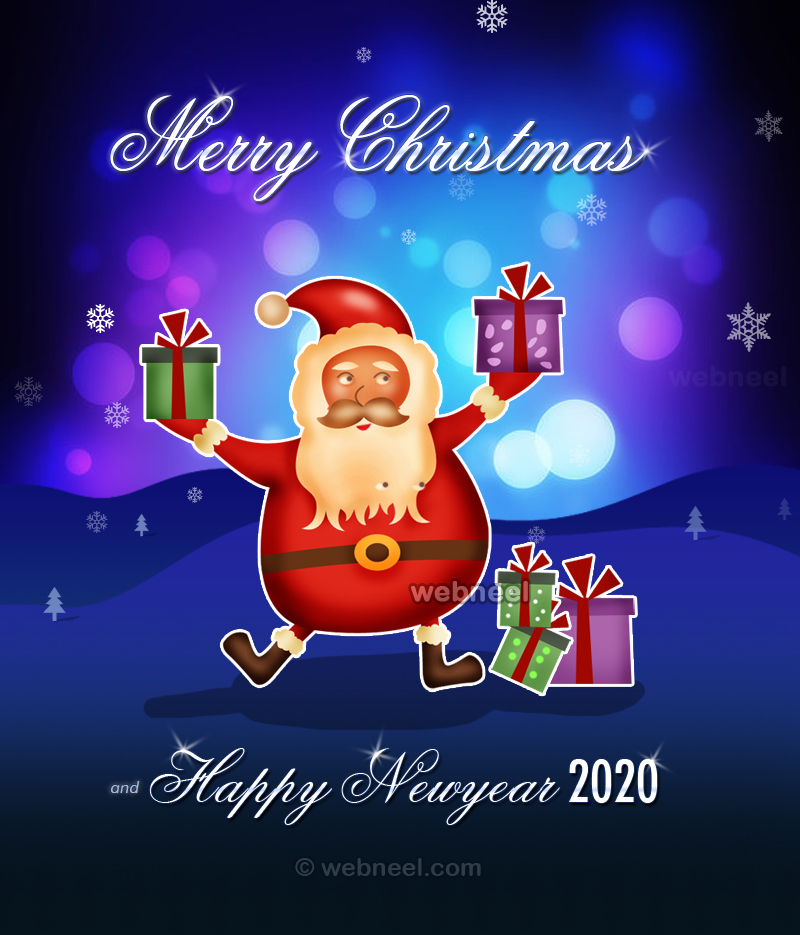 newyear greeting card santa 2020