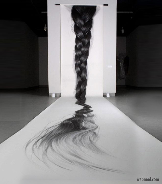 3d drawing art woman hair