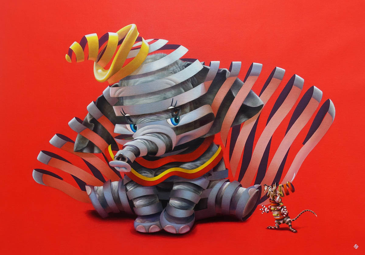 creative surreal paintings ideas elephant by stefan thelen