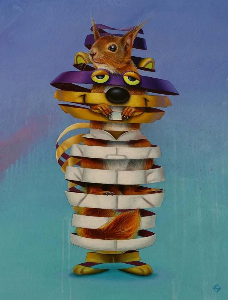 creative surreal paintings ideas squirrel by stefan thelen