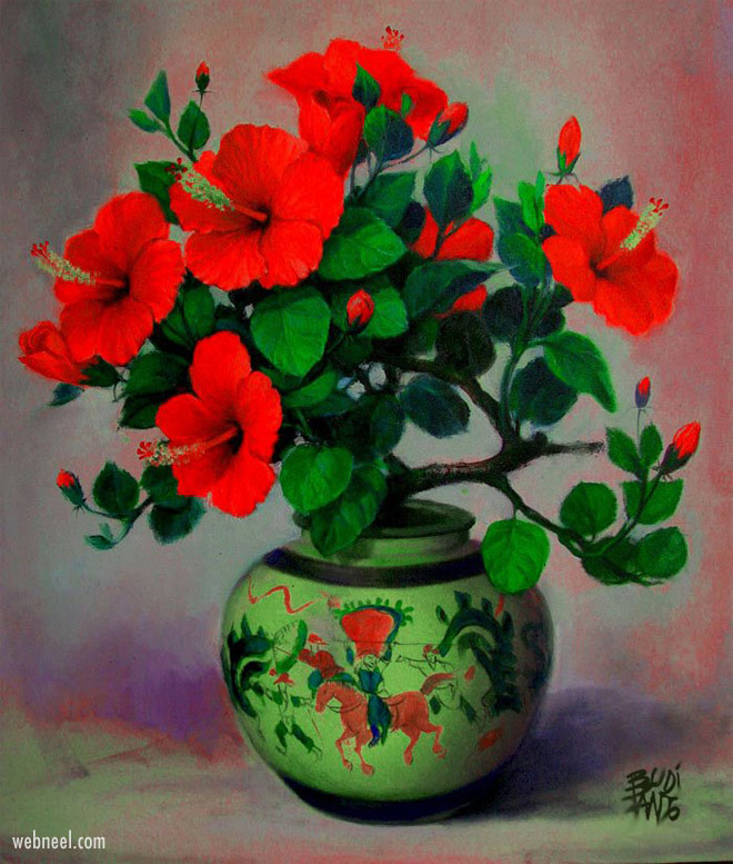 flower painting still life by budi pang