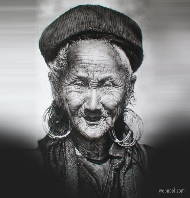 hyper realistic drawing old lady by paul cadden