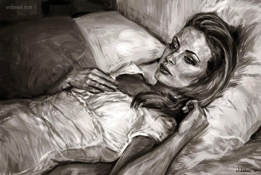 painting woman beautiful