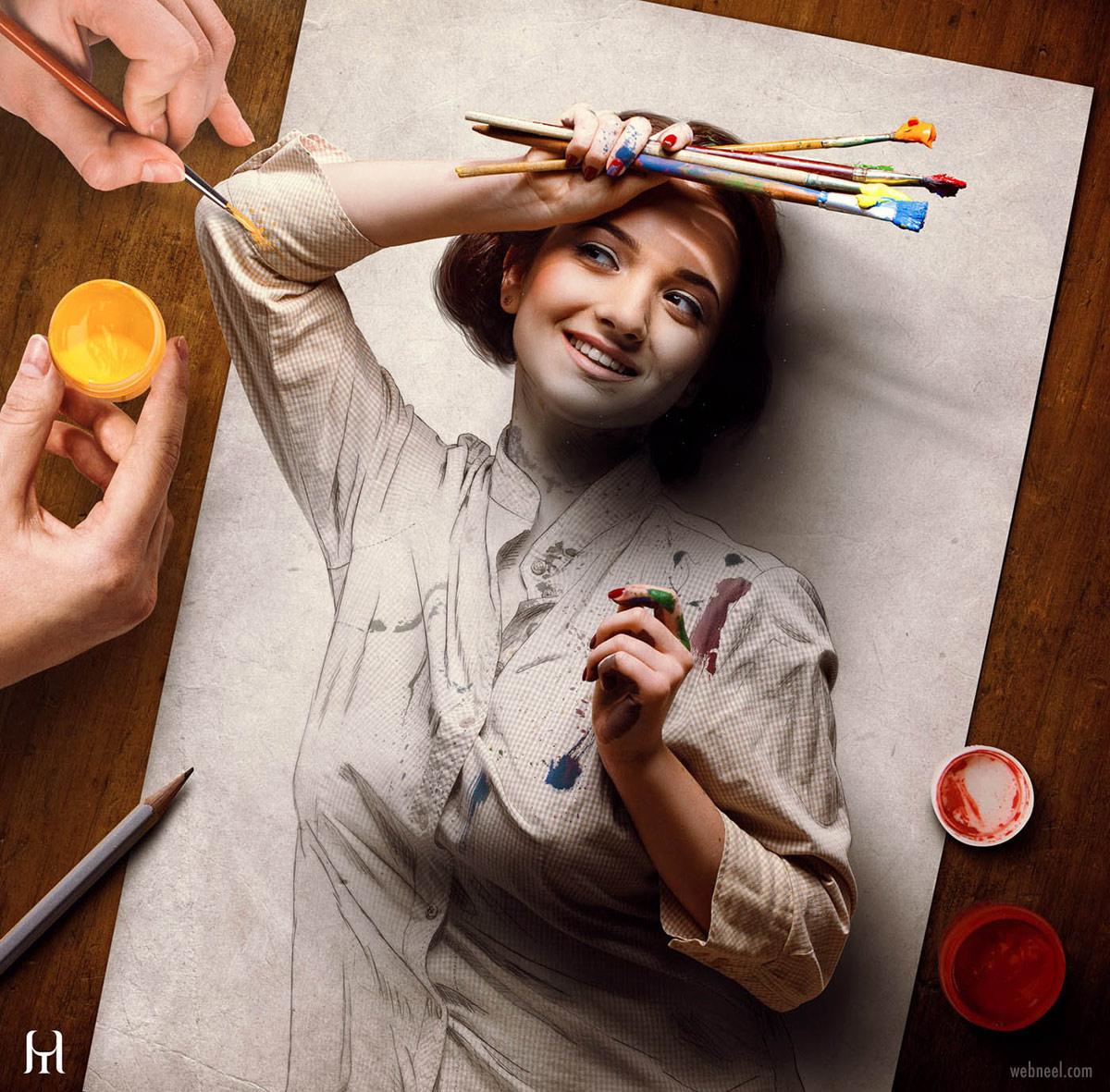 photo manipulation self portrait painting by tullius heuer
