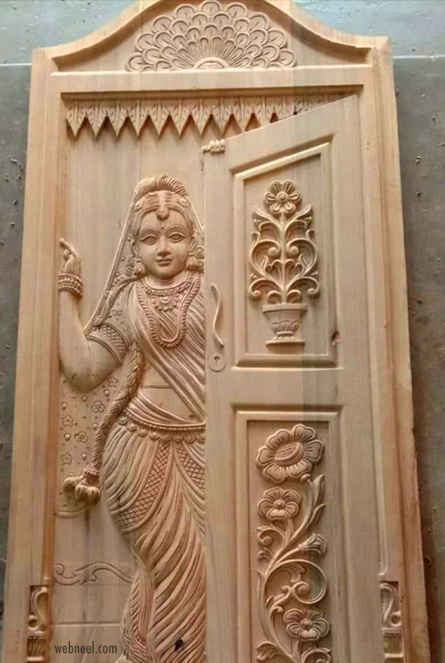 sculpture indian wood carving door design idea