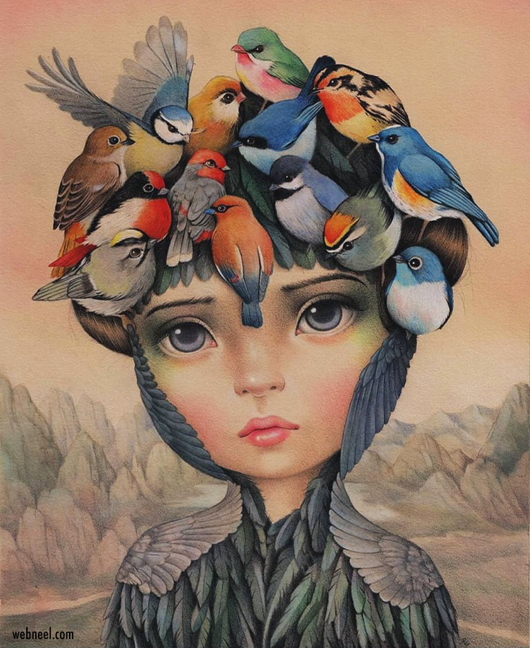 surreal color pencil drawing girl birds by raul guerra