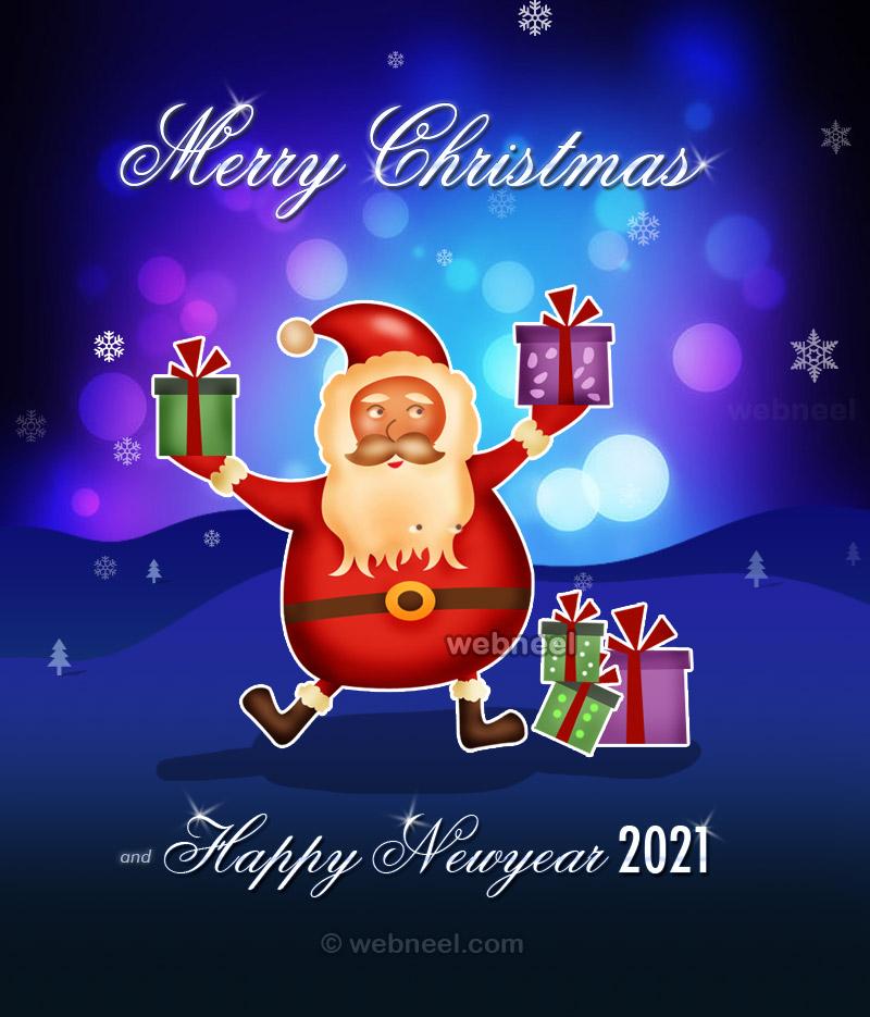 newyear greeting card santa