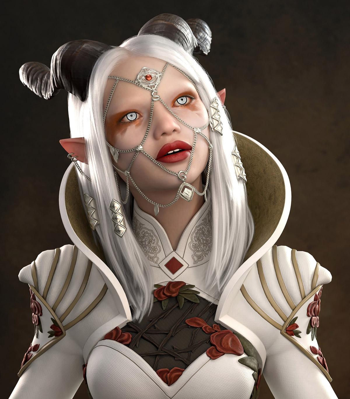 3d model fantasy woman portrait by ulakosenko