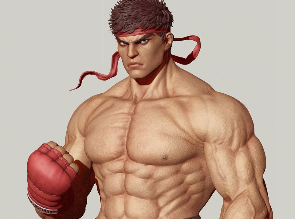 3d model fighter body builder ryu by sumit777