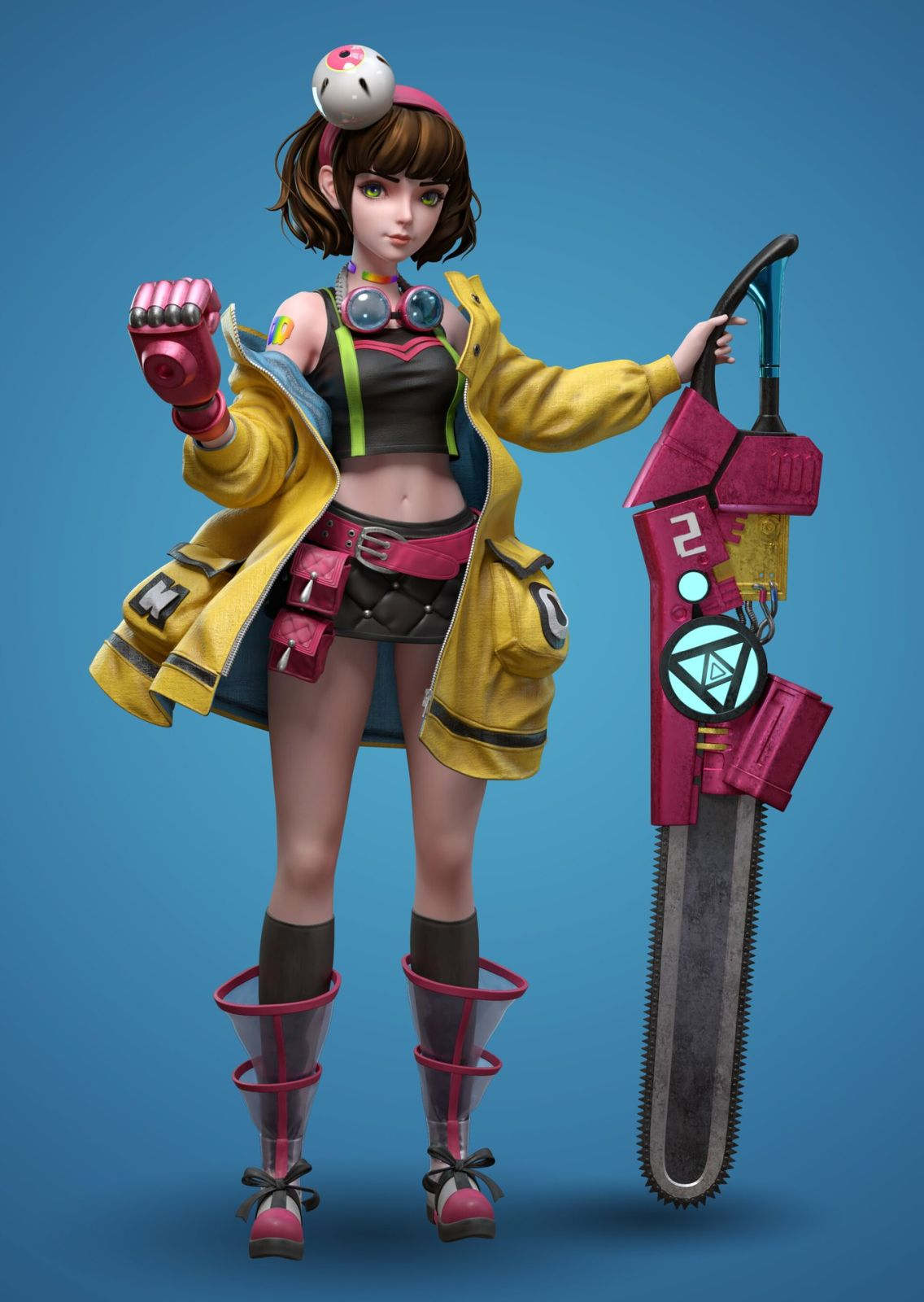 3d model girl with wood cutter by wang jin long