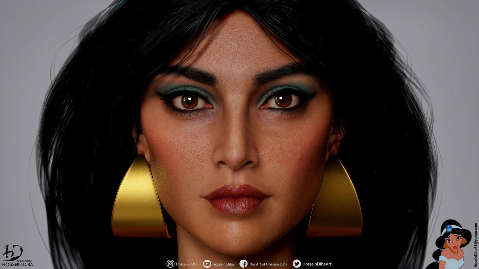 3d model princess jasmine disney by hosseindiba