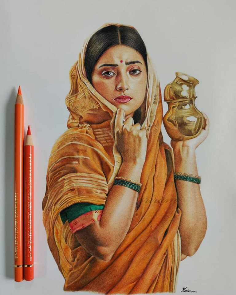 colour pencil drawing portrait woman by sreeram