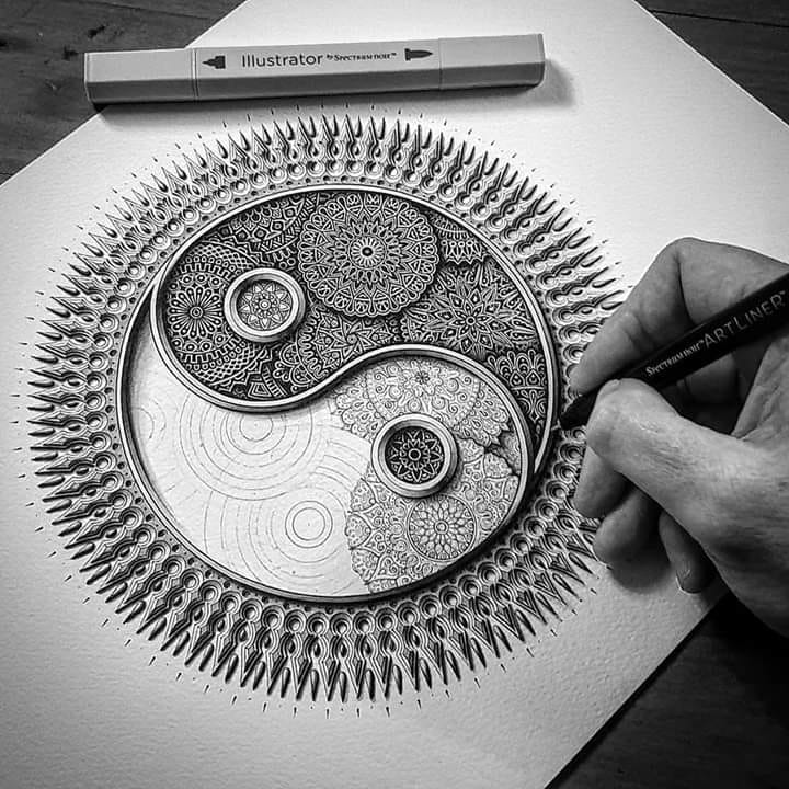 doodle art drawing by baz furnell