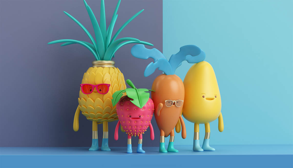 funny 3d model fruits by aaron martinez