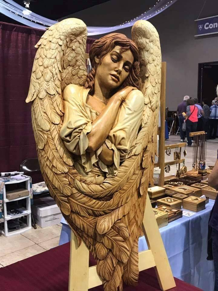 wood sculpture angel by fred zavadil