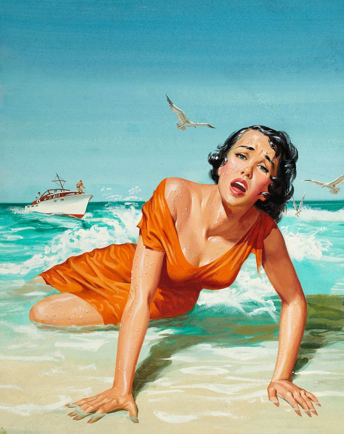 beach lady oil painting
