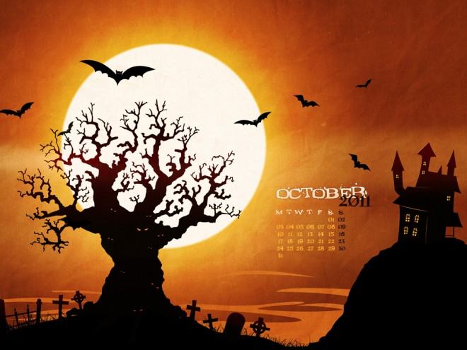 halloween spooky in the jungle 2d background