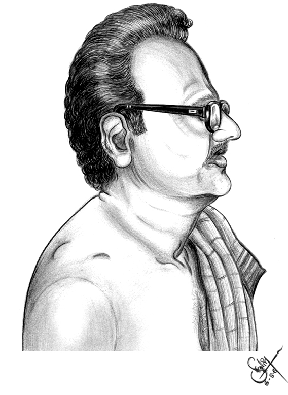 madhavan pillai pencil drawing by aralvaimozhy neelan