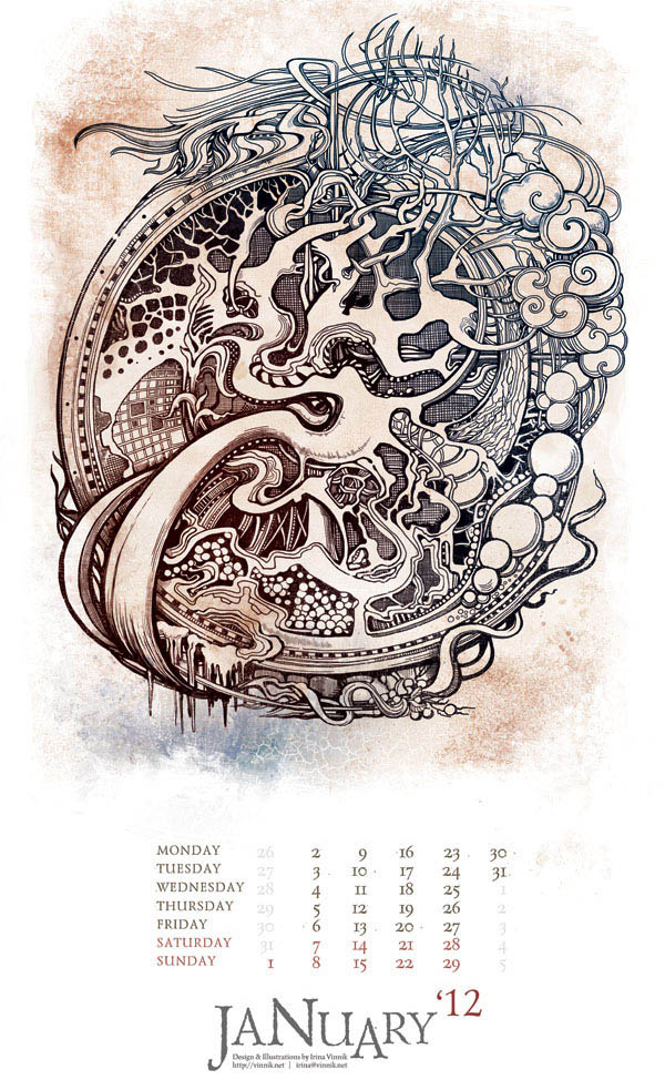 mural illustration calender printing design irina vinnik the eyes of imagination