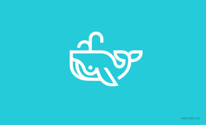 logo design whales by martigny