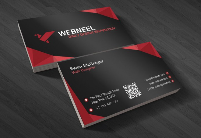 21 dark business card template - free download