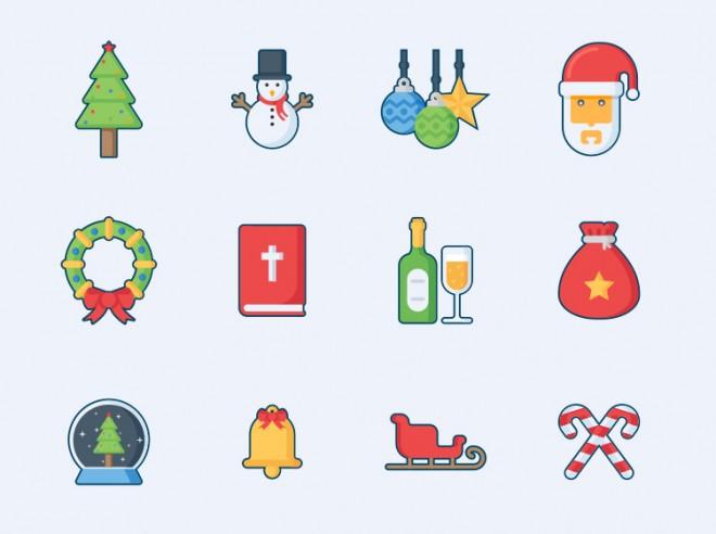 5 christmas icon design set