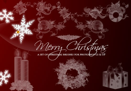 500 Christmas Photoshop Brushes and other Design Resources