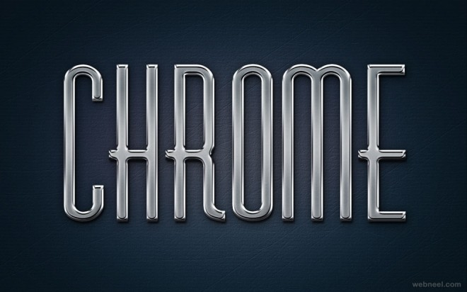 chrome metal text effect - photoshop styles