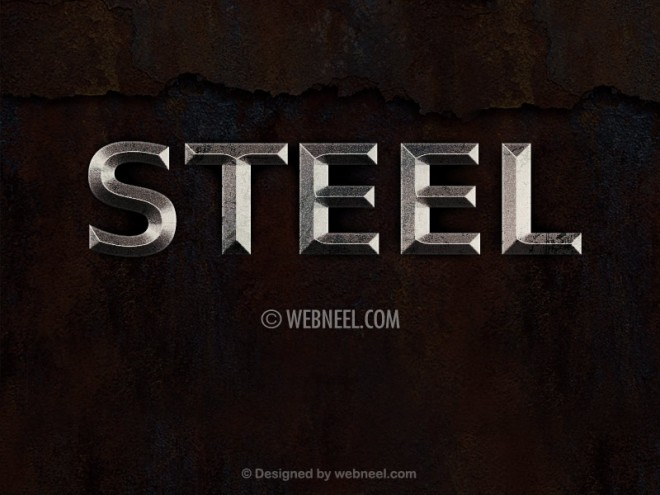 steel metal effect   free photoshop layer style by webneel