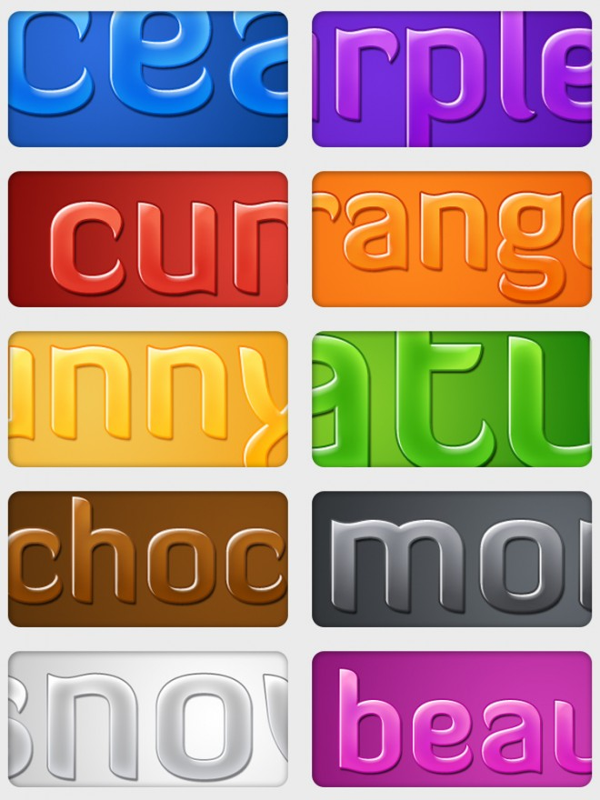 Glossy Text - 10 Free Styles by eucaliptuss Styles