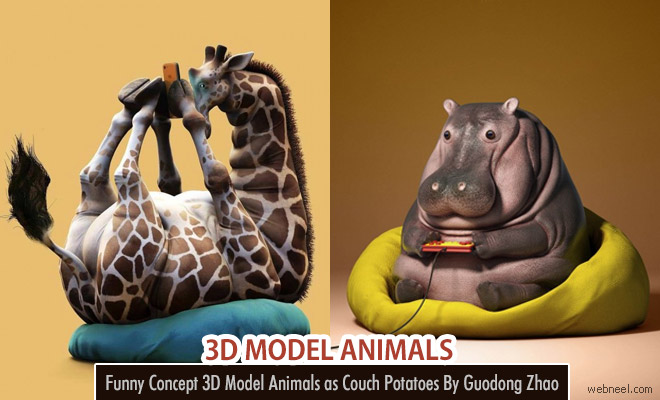 Funny 3D Model Animals as Couch Potatoes By Guodong Zhao