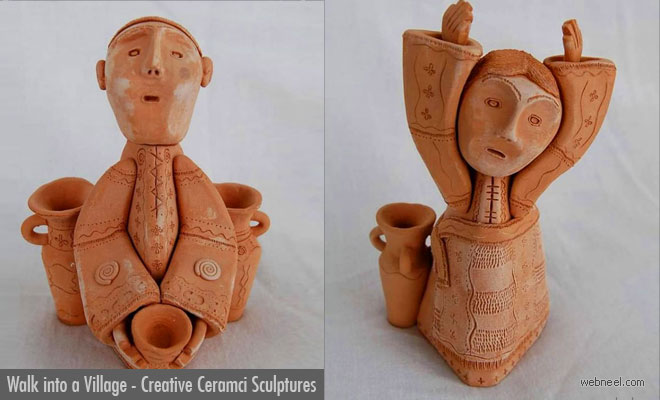 Walk into a Village, Rustic Ceramic sculptures by Illia Vaselovych