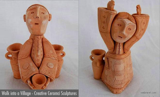 Walk into a Village, Rustic Ceramic sculptures by Illia Vaselovych