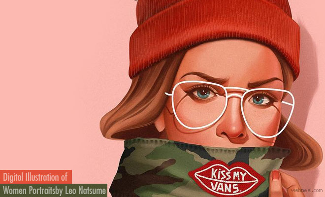 10 Simple and Creative Digital Illustration of Portraits by Leo Natsume
