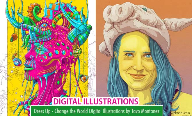 10 Colorful Surreal Digital Illustrations and Vexel Portraits by Tavo Montanez