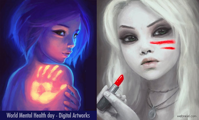 Aesthetically beautiful Digital Paintings voicing mental health issues by Destinyblue